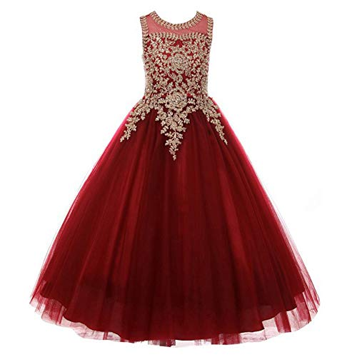 Formal Little Girls Long Pageant Dresses Prom Ball Gown Gold Lace Burgundy Tulle Size 6