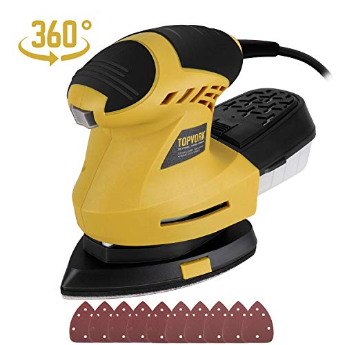 Ginour Detail Sander, 1.6A Sander with 10Pcs Sandpapers, 360° Rotating Sanding Pad, 12000OPM