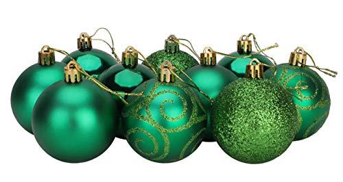 Christmas Concepts® Confezione Da 10-60Mm Baubles Natalizi - Baubles Decorati Lucidi, Opachi E Glitterati (Verde Smeraldo)
