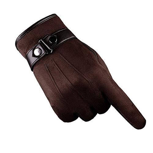 JKFXMN Männer Winter Warme Handschuhe Verdickt Pu Leder Motorrad Ski Schnee Snowboard Handschuh Guantes, Schokolade