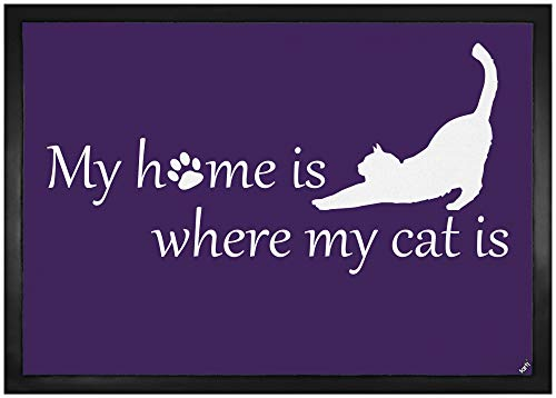 1art1 Katzen - My Home is Where My Cat is Fußmatte Innenbereich und Außenbereich | Design Türmatte 70 x 50 cm