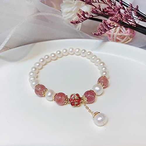 JDKALPulseras de la Marca de Perlas de Agua Dulce Fu, Pulsera de la Amistad Antigua de Loto de Piedra para Mujer, PresenteColor Oro Amarillo Claro