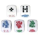 HARMILIY Sei Facce Poker Dadi Poker Dice per Casinò Poker Card Festa Gioco Accessori, 16m...