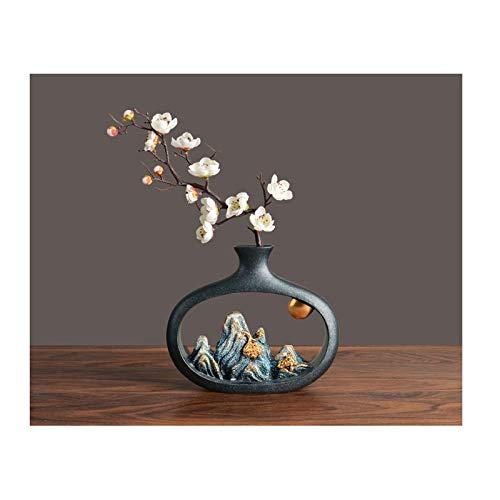 Jarrones para flores Jarrón retro estilo chino personalidad imitación creativa jarrón de montaña sala de estar gabinete de vino gabinete de televisión sala de té decoración de oficina jarrón (flores d