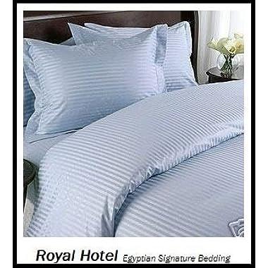 Royal Hotel California-King Blue Cotton-Blend Wrinkle-Free Sheets 650-Thread-Count Stripe Sheet Set