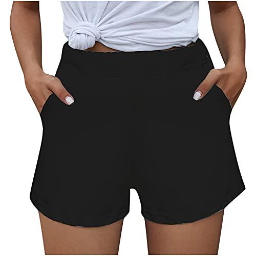 Routinfly Sommerhosen Damen Leinenhose Hosen High Waist Beiläufig Jogginghose Freizeithose Strandhose Leinenhose,Damen Lounge Shorts Workout Solide Shorts Lässige Shorts Hosen mit Tasche