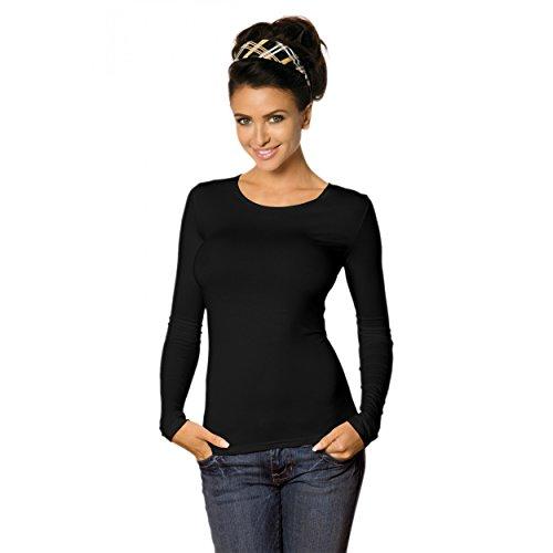 Babell Camiseta Mujer de Manga Larga Blusa Elástico de Viscosa (40/42, Negro)