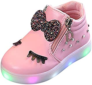 Children Shoes LED Luminous Soft Bottom Boots Sneakers Casual Shoes, Size:21(Red) Children Shoes (Color : Pink)