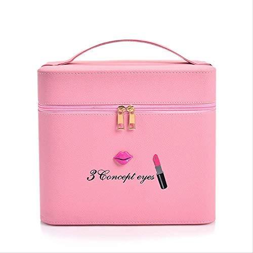 27cm x 23cm x 18cm rojo bolsa de maquillaje profesional De gran capacidad multicapa multi-funcional caja de almacenamiento a mano para llevar PU caja de joyería impermeable.