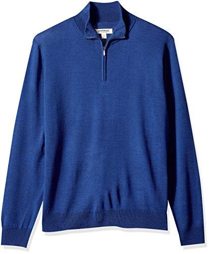 Amazon Brand - Goodthreads Men's Lightweight Merino Wool Quarter Zip Sweater, Bright Blue, Large