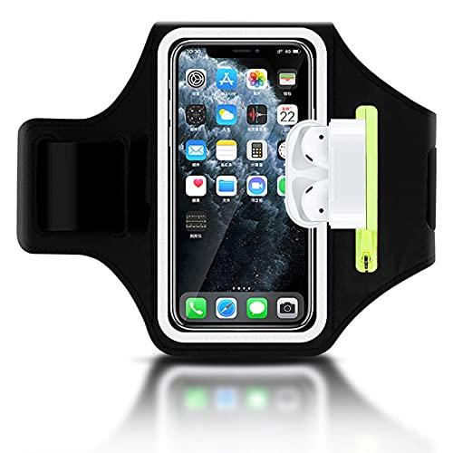 Sportarmband Handy Mit Airpods Tasche Universal Handyhülle Handytasche Armtasche für iPhone 12 Pro/11/11 Pro Max/XR/XS Max Xiaomi Huawei P30 Pro/Mate 20 Samsung S20/S10/Note 10 Xiaomi Running Armband