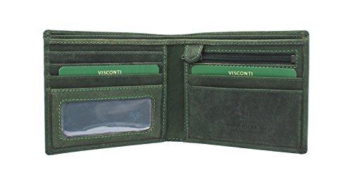 Visconti Portafoglio di Pelle Ingrassata SHIELD 707 Olio Verde RFID