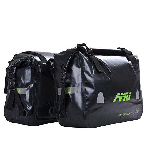 Great Features Of A.B Crew 2pc Waterproof Motorcycle Saddlebags 50L Panniers Heavy-duty PVC Travel L...