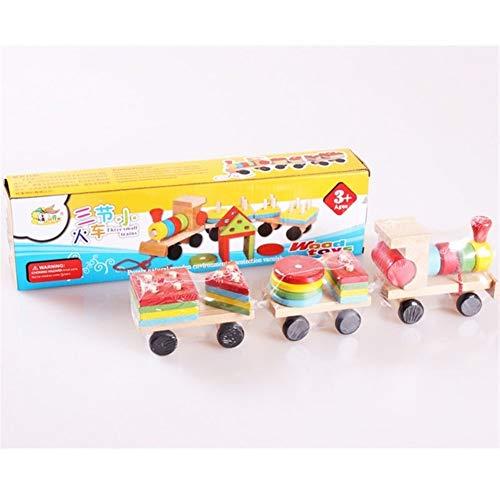 KDHJY Forma aprendiendo los niños Juguetes educativos geométrica de Madera Bloques de construcción de Madera de Tres pequeños Trenes Cable de tracción Regalo Juguete for niños (Color : with Gift Box)