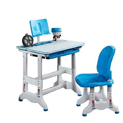 Juego de Escritorio y Silla de Estudio para Niños Mesa de Trabajo de Estudio Combinado Mesa de plástico de Estudio los niños Pupitre de niño Puede Subir y Bajar (Color : A(Blue))