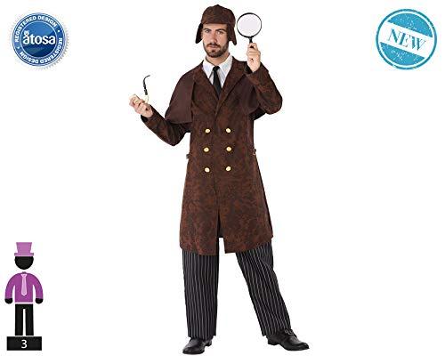 Atosa-61556 Atosa-61556-Disfraz Detective-Adulto Hombre, Color marrón, M a L (61556 , color/modelo surtido