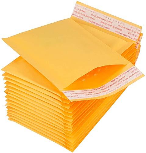 STARVAST 100Pcs Enveloppes à Bulles 4.72 x 6.3 Inch - Enveloppes Matelassées, Enveloppe Expedition Imperméable – Jaune, Papier Kraft