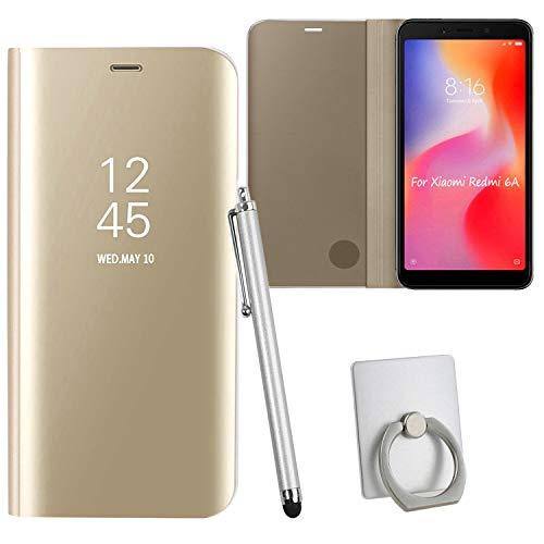 Guran® Mirror Efecto Espejo Funda para Xiaomi Redmi 6A Clear View Función de Soporte Plegable Smartphone Funda Protectora (Golden)
