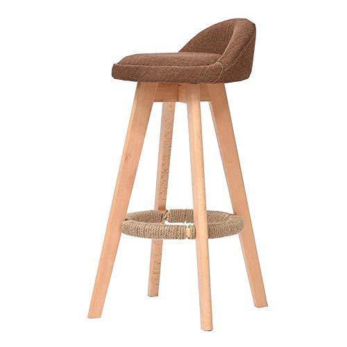 JIEER-C vrijetijdsstoel barkruk van massief hout draaibare hoge stoel linnenovertrek ontbijt bar stoel modern huis keuken stoel robuust Wood color Blue