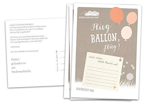 Eine der Guten 50 Ballonflugkarten - Flieg Ballon, flieg! - Spiel für die Hochzeit, Hochzeitsspiel Ballonweitflug BEIGE, Recyclingpapier co2 neutral