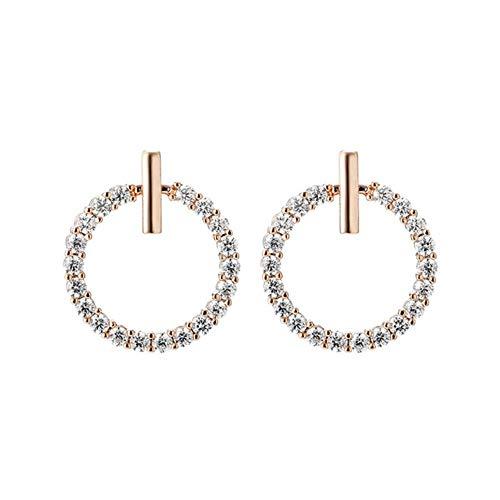 Envío gratis moda 925 plata esterlina cristal diamantes de imitación geométricos perno prisionero redondo para mujeres hermosa joyería-E04-B
