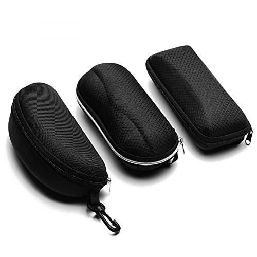 N\C Protable Gafas de Sol Protector Viaje Pack Bolsa Gafas caso 1pcs Negro Cremallera Caja Duro Gafas Accesorios