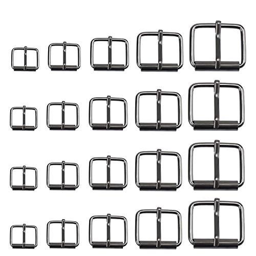 TsunNee 75 hebillas de metal enrollables, 5 tamaños de cinturones, hebillas para bolsas, correa de cuero y accesorios de bricolaje negro
