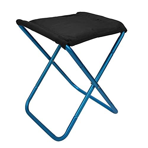 Duokon Silla Plegable para Exteriores, Taburete de Pesca Ligero de aleación de Aluminio con Bolsa de Almacenamiento para Barbacoa, Camping, Pesca, Picnic en la Playa(Azul)