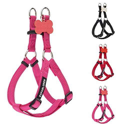 Reflective No Pull Dog Harness - Heavy Duty Adjustable Nylon Step in Puppy Vest Harness with Personalized ID Tag for Small Medium Large Dogs Outdoor Walking