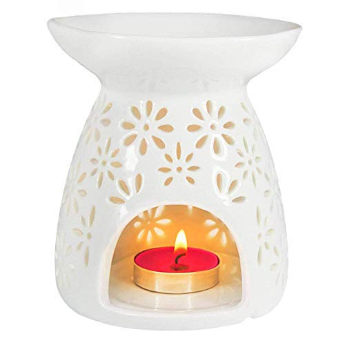 Ivenf Ceramic Tea Light Holder, Aromatherapy Essential Oil Burner, Great Decoration for Living Room, Balcony, Patio, Porch and Garden, Vase Shape