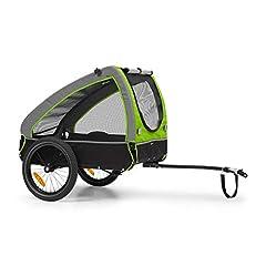 Klarfit Husky cykel hund hänge, ca. 250 liter volym, material: 600D Oxford Canvas, SmartSpace Concept, maximal lastkapacitet: 45 kg, pulverlackerad stålram, färg: grön