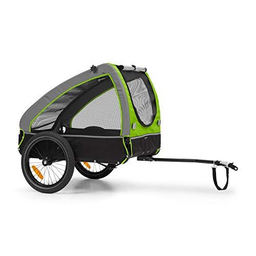 Klarfit Husky Fahrrad-Hundeanhänger, ca. 250 Liter Volumen, Material: 600D Oxford Canvas, SmartSpace Concept, maximale Belastbarkeit: 45 kg, pulverbeschichteter Stahlrahmen, Farbe: grün