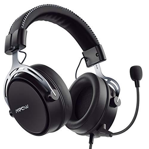 Mpow Air SE PS4 Auriculares con sonido 3D, micrófono de cancelación de ruido desmontable, almohadillas de memoria suave inspiradas, auriculares multiplataforma para PC/Xbox One/Switch