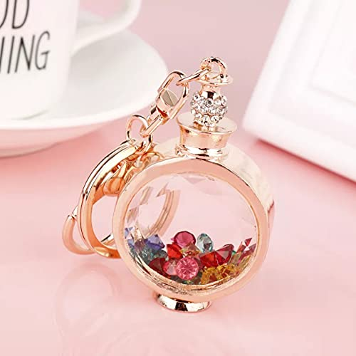 TOBENOI Llavero de Botella de Perfume de Diamantes de imitación de Moda Llavero de Cristal Colorido Llavero de Bolso de Mujer con Encanto de Coche