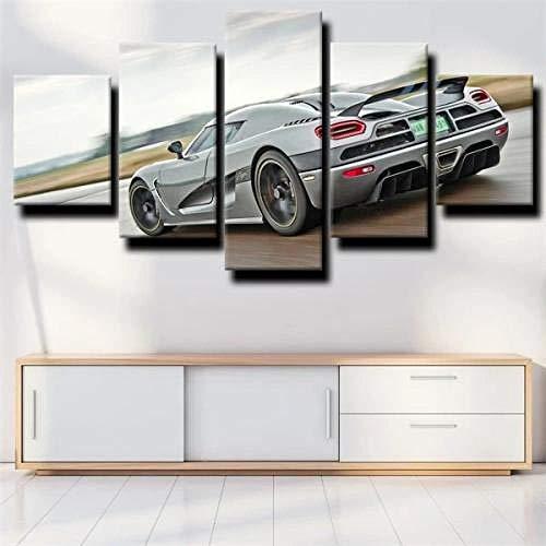 Cuadro en Lienzo 5 Piezas Impresión Coche deportivo Koenigsegg Agera R Highway XXL Impresión Artística 5 Piezas Lienzo de Tejido no Tejido Estampado Decoración de Pared Aislamiento