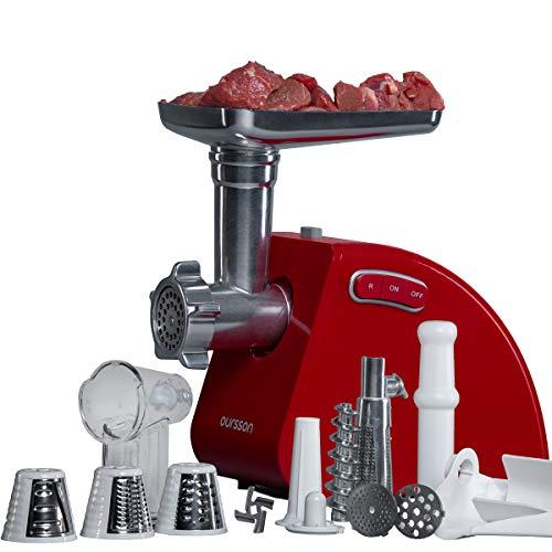 Picadora de carne eléctrica y embutidora de salchichas Oursson, accesorio para trocear, picar y cortar, 1500 Vatios, reverse, MG5530 (Rojo)