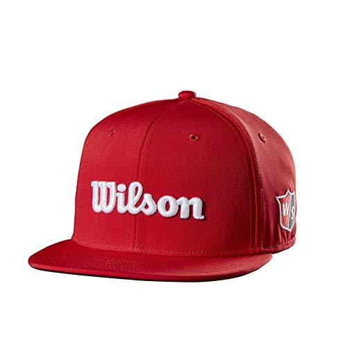 Wilson Staff Flat Brim Cap JR, WGH6070RD Cappello da Golf, Visiera Piatta, Regolabile, per Ragazzi, Poliestere, Rosso