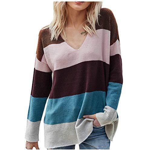 TAMALLU Women Socket Sweater Fashion Leisure Elegant Color Contrast Long Sleeve Tops(Blue,XL)