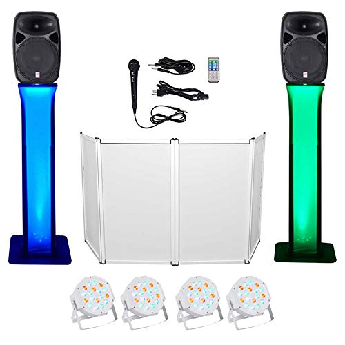 Great Features Of DJ Package w/Dual 15 Bluetooth Speakers+Mic+Tripod+Totem Stands+Facade+ Lights