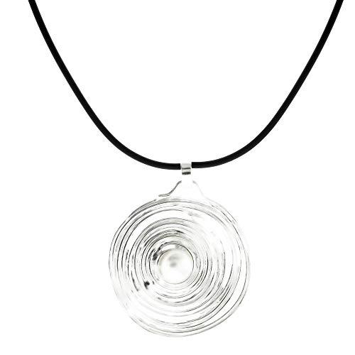 Córdoba Jewels | Gargantilla en Plata de ley 925 con diseño Circle Perla Caucho