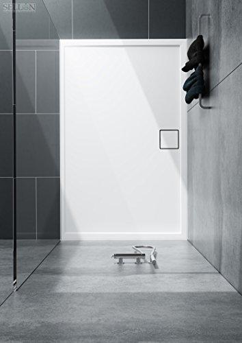 Stabilsound® Receveur de douche rectangulaire en acrylique plat stable 90 x 100 x 5,5 cm