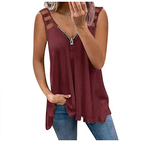 T-Shirt Damen Kurzarm Elegant Sommer Oberteile Bluse Casual Low Cut Kurzarm V-Ausschnitt Reißverschluss Hollow Out T-Shirt Bluse Tops für Frauen Teenager Mädchen