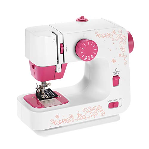 Decdeal Mini DIY Máquina de Coser con 12 Puntadas Portátil, Máquina de Coser Multifuncional Costura Inversa de 2 Velocidades Control de Pie para Principiantes 100 V-240 V