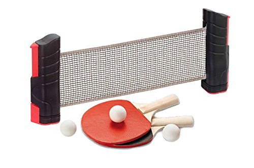 USG CSL732 Ensemble de ping-Pong avec Filet Extensible pour Table Mixte Enfant, Noir