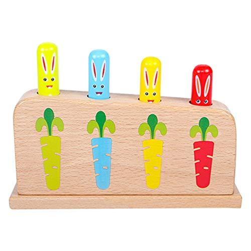 Toyvian Pop Up Spielzeug Baby Holz Kaninchen Karotte Holzstäbchen Kleinkinder Mädchen Jungen Interaktives Lernspielzeug Pädagogische Lernspaß