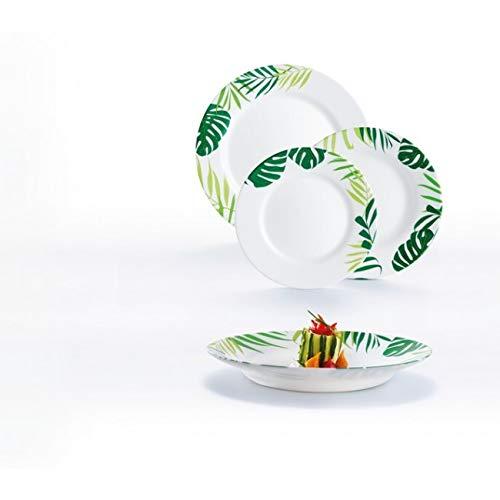servizio Piatti 18 pezzi Jungle fever vetro opale
