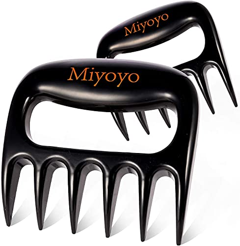 Miyoyo Meat Claws, Best Meat Shredder Claws Heavy Duty Pulled Pork Shredder Claws Non Slip Handle Kitchen Meat Shredding Forks to Shred Meat Easily, for Barbecue, Smoker, Grill - Black