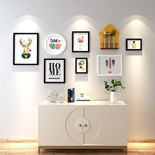 Anyi Galerie Muurfotolijst set van 6 fotolijstjes massief hout glazen raam twee 7 inch, een 10 inch, twee 12 inch, een 16 inch