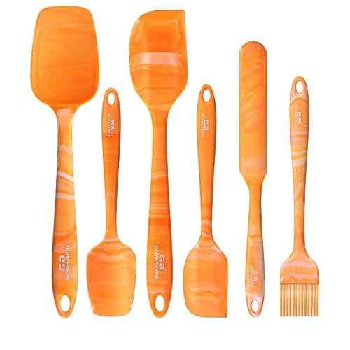 G.a HOMEFAVOR Teigschaber Silikon Hitzebeständig Teigspatel Set Spatel Silikon Spatula für Küche Backen 6-Teiliges Set, Orange