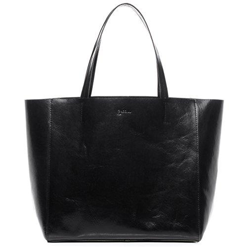 BACCINI Handtasche mit Langen Henkeln echt Leder Frida XL groß Henkeltasche Schultertasche Ledertasche Damen schwarz
